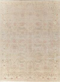 Antique Muted Floral Oushak Turkish Area Rug 10x13