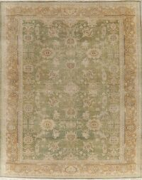 Vegetable Dye Antique Floral Oushak Turkish Area Rug 9x11