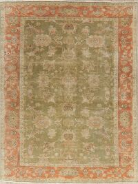 Antique Floral Oushak Green & Rust Turkish Area Rug 8x10