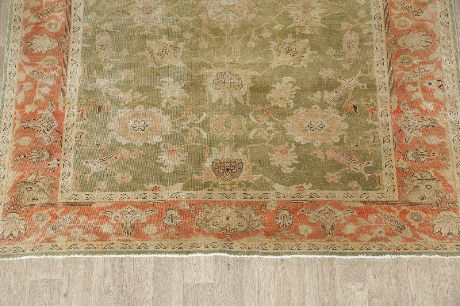 Antique Floral Oushak Green & Rust Oriental Area Rug 8x10 image 8