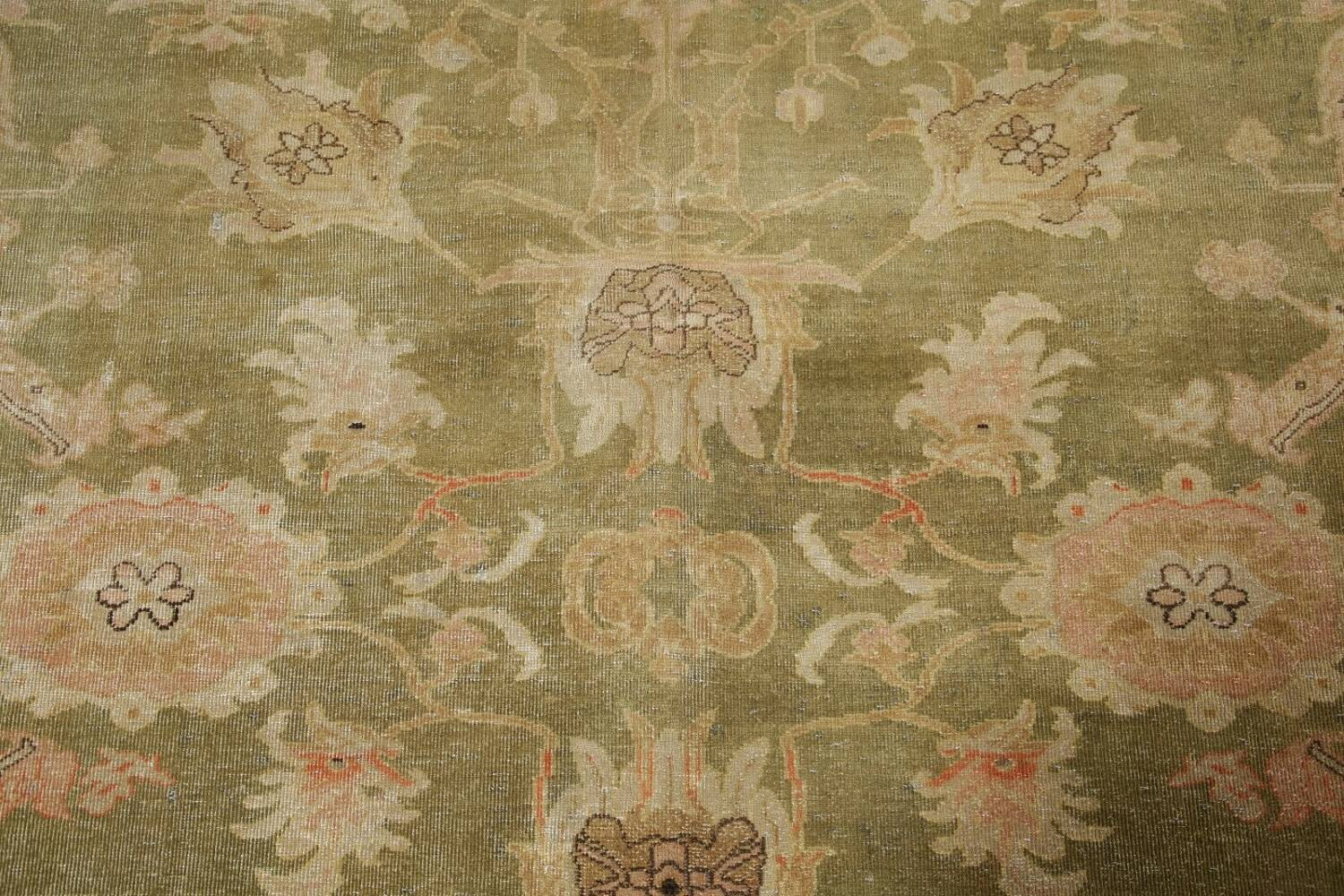 Antique Floral Oushak Green & Rust Oriental Area Rug 8x10 image 11