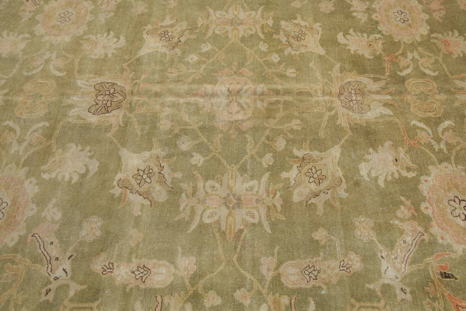 Antique Floral Oushak Green & Rust Oriental Area Rug 8x10 image 21