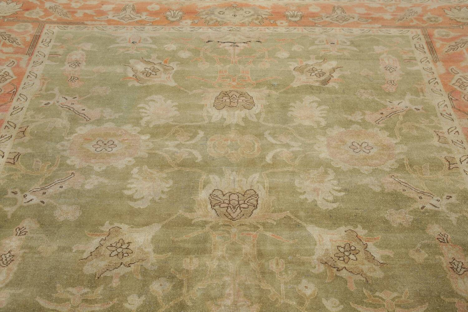 Antique Floral Oushak Green & Rust Oriental Area Rug 8x10 image 17