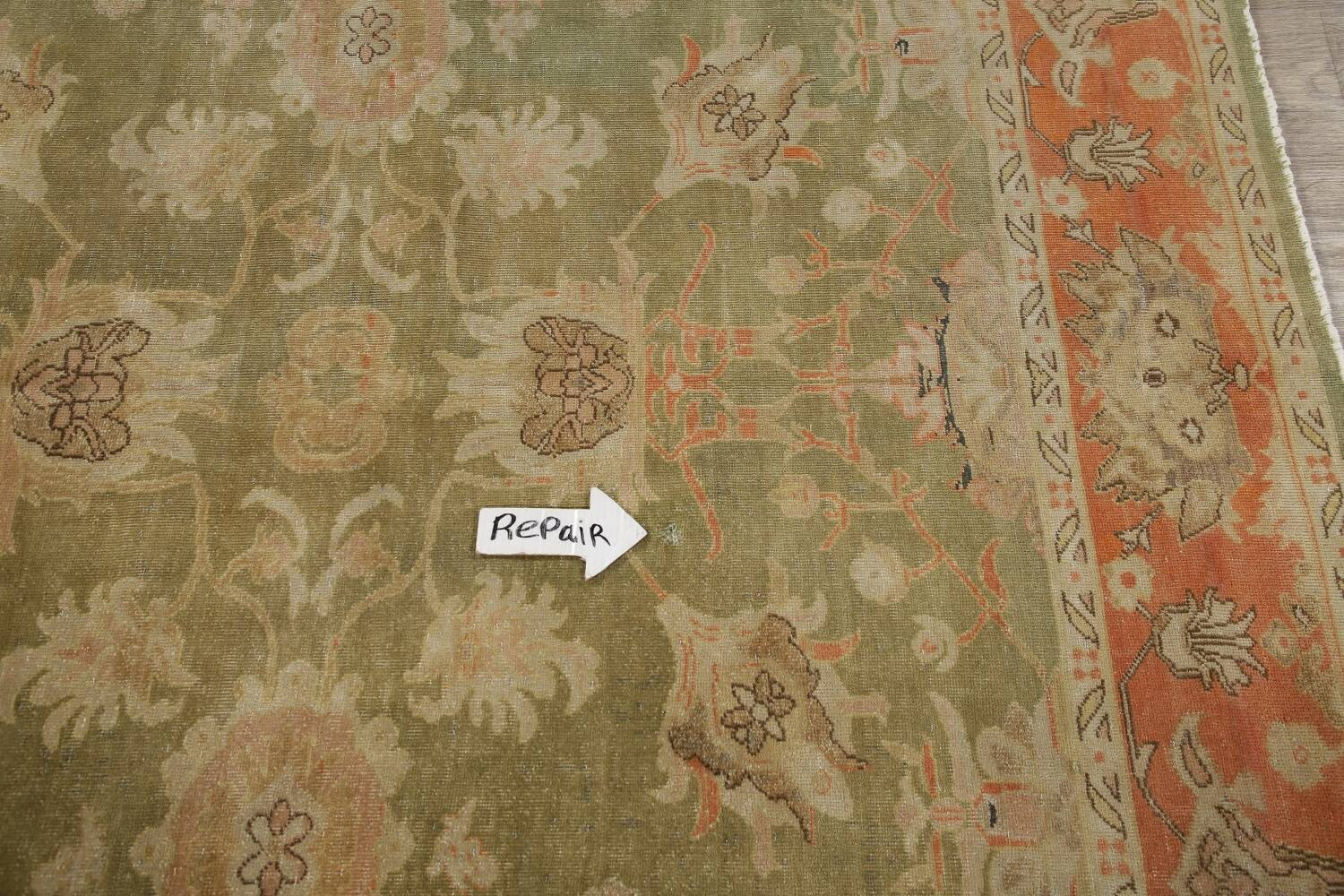 Antique Floral Oushak Green & Rust Oriental Area Rug 8x10 image 16