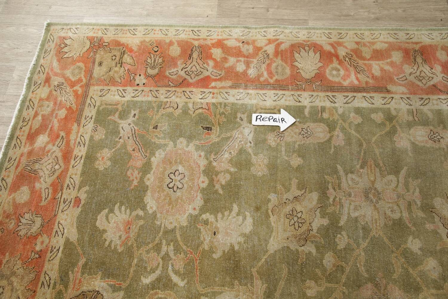 Antique Floral Oushak Green & Rust Oriental Area Rug 8x10 image 14