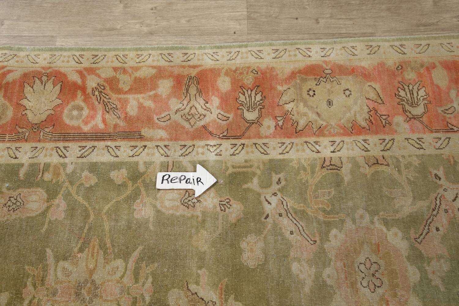 Antique Floral Oushak Green & Rust Oriental Area Rug 8x10 image 13