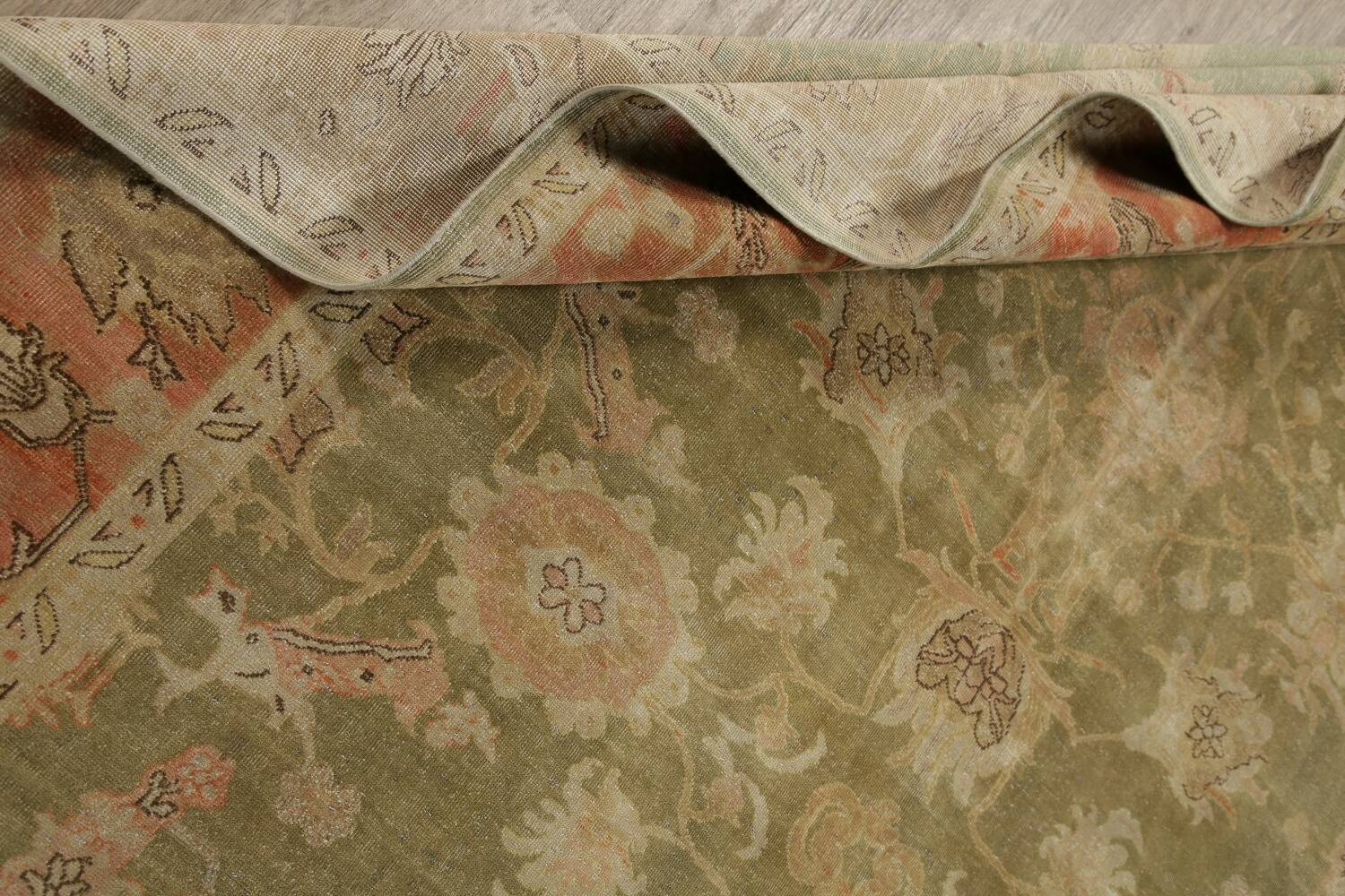 Antique Floral Oushak Green & Rust Oriental Area Rug 8x10 image 23