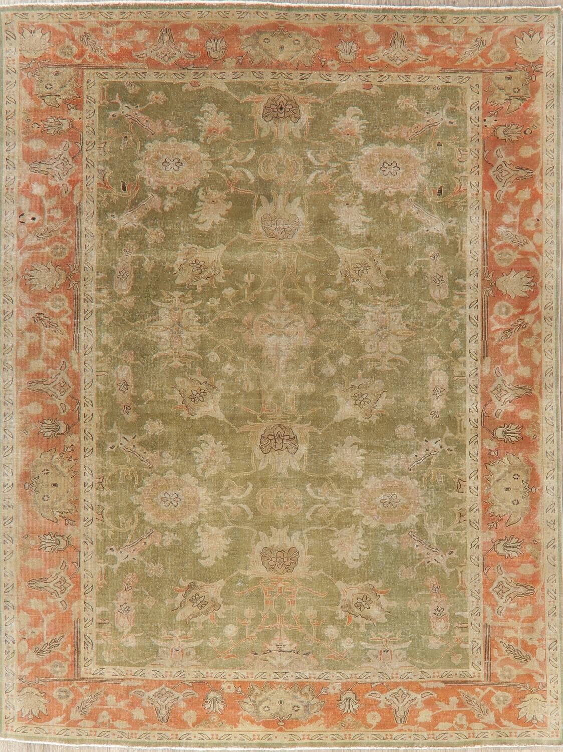 Antique Floral Oushak Green & Rust Oriental Area Rug 8x10 image 1