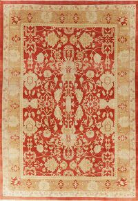 Rust Floral Oushak Turkish Area Rug 9x13