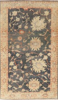 Vegetable Dye Floral Oushak Turkish Area Rug 6x9