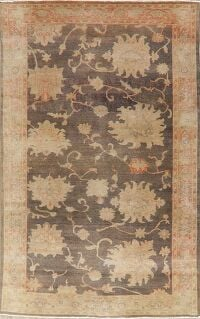 Vegetable Dye Antique Floral Oushak Turkish Area Rug 6x9