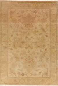 Vegetable Dye Antique Floral Oushak Turkish Area Rug 5x7