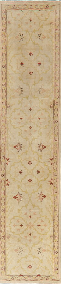 Floral Oushak Turkish Runner Rug 3x10