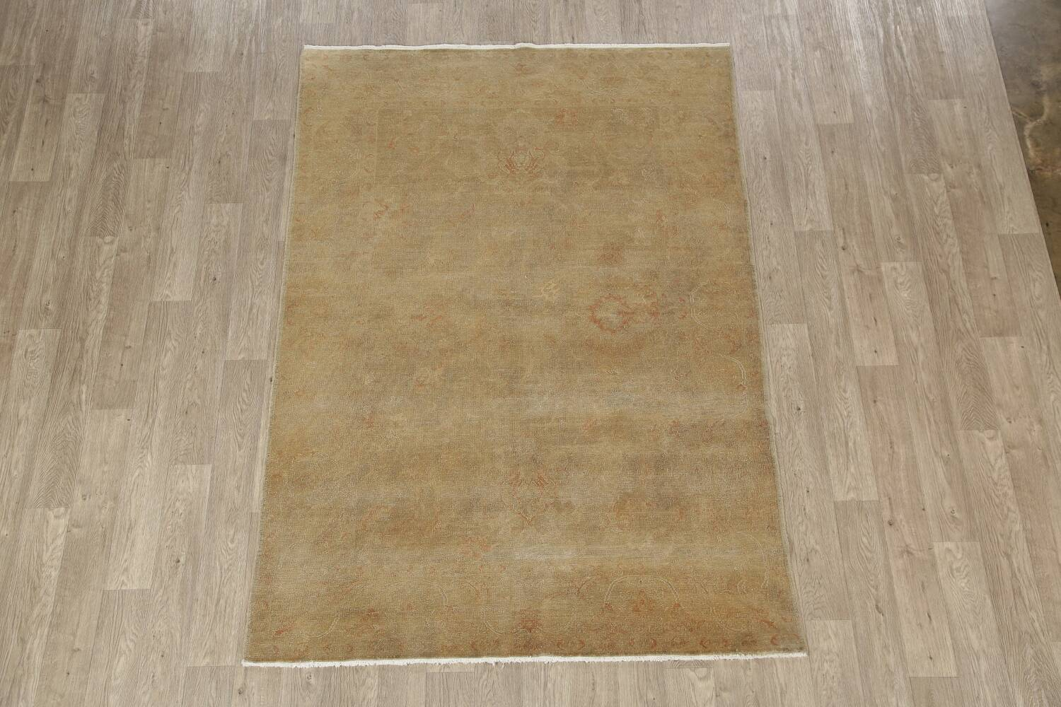 Antique Muted Floral Oushak Turkish Area Rug 6x8 image 2