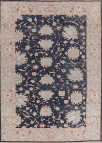 Navy Blue Vegetable Dye Oushak Turkish Area Rug 9x12