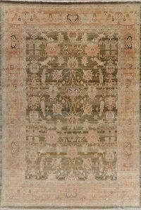 Green Vegetable Dye Oushak Turkish Area Rug 10x14