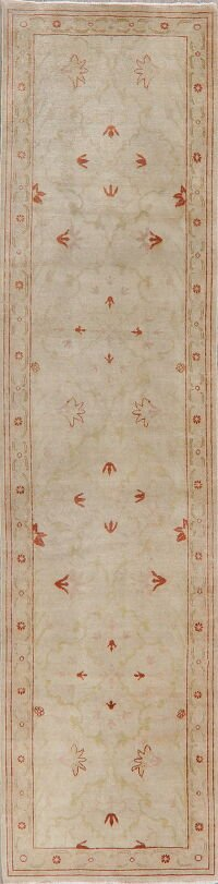 Vegetable Dye Oushak Turkish Runner Rug 3x10