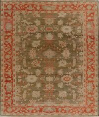 Antique Vegetable Dye Oushak Turkish Area Rug 9x10