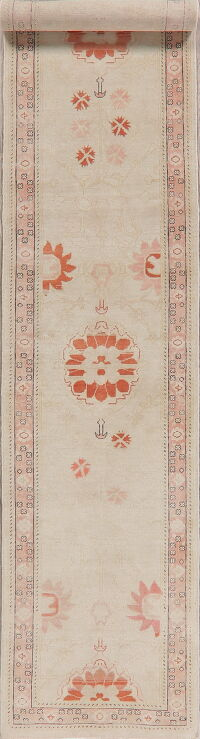 Vegetable Dye Oushak Turkish Runner Rug 2x14