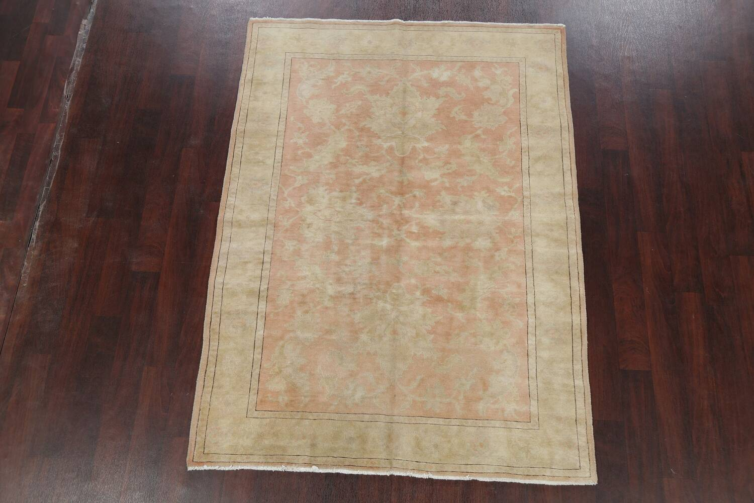 Vegetable Dye Antique Coral Peach Egyptian Area Rug 5x7 image 2
