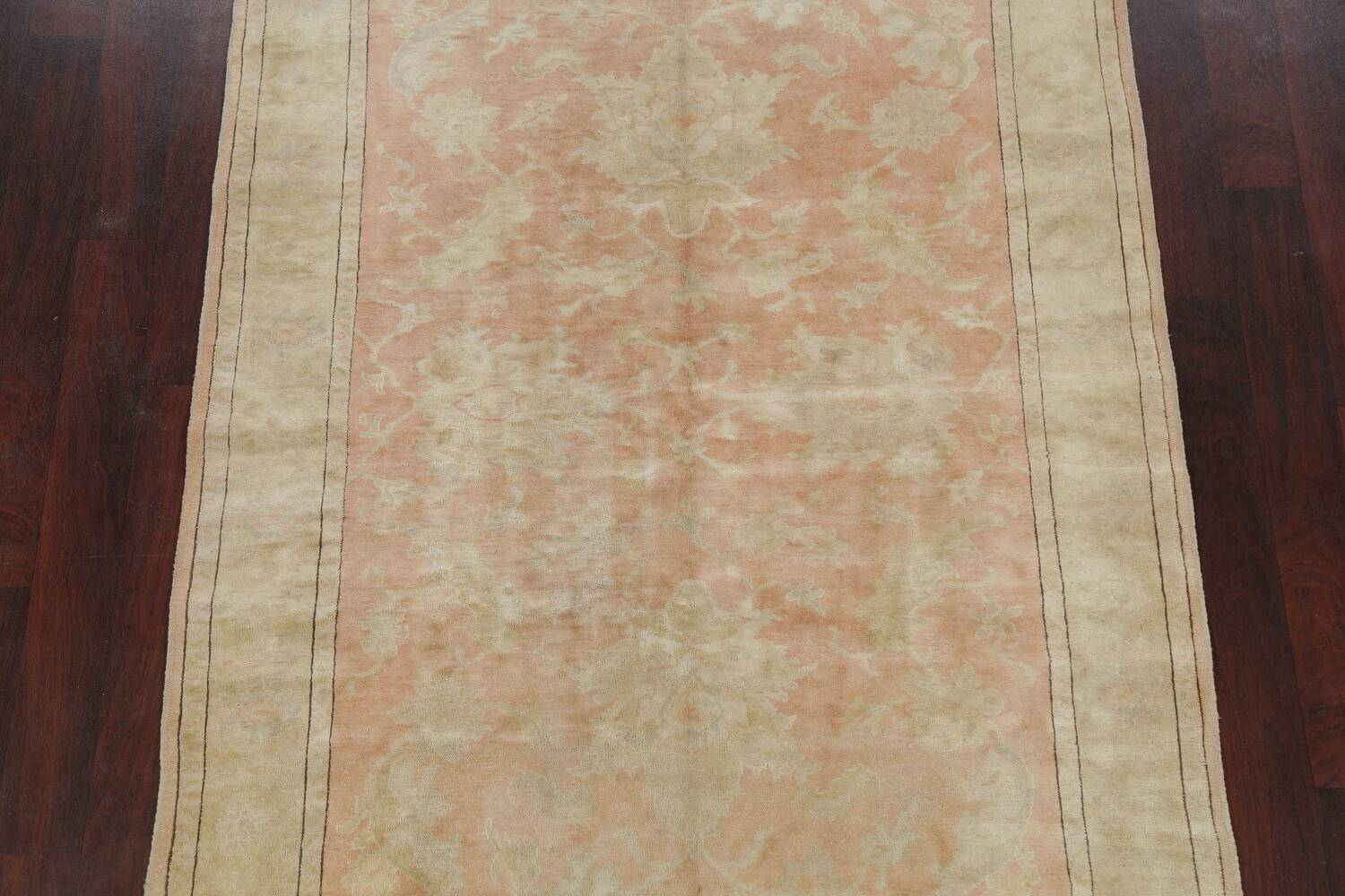 Vegetable Dye Antique Coral Peach Egyptian Area Rug 5x7 image 3