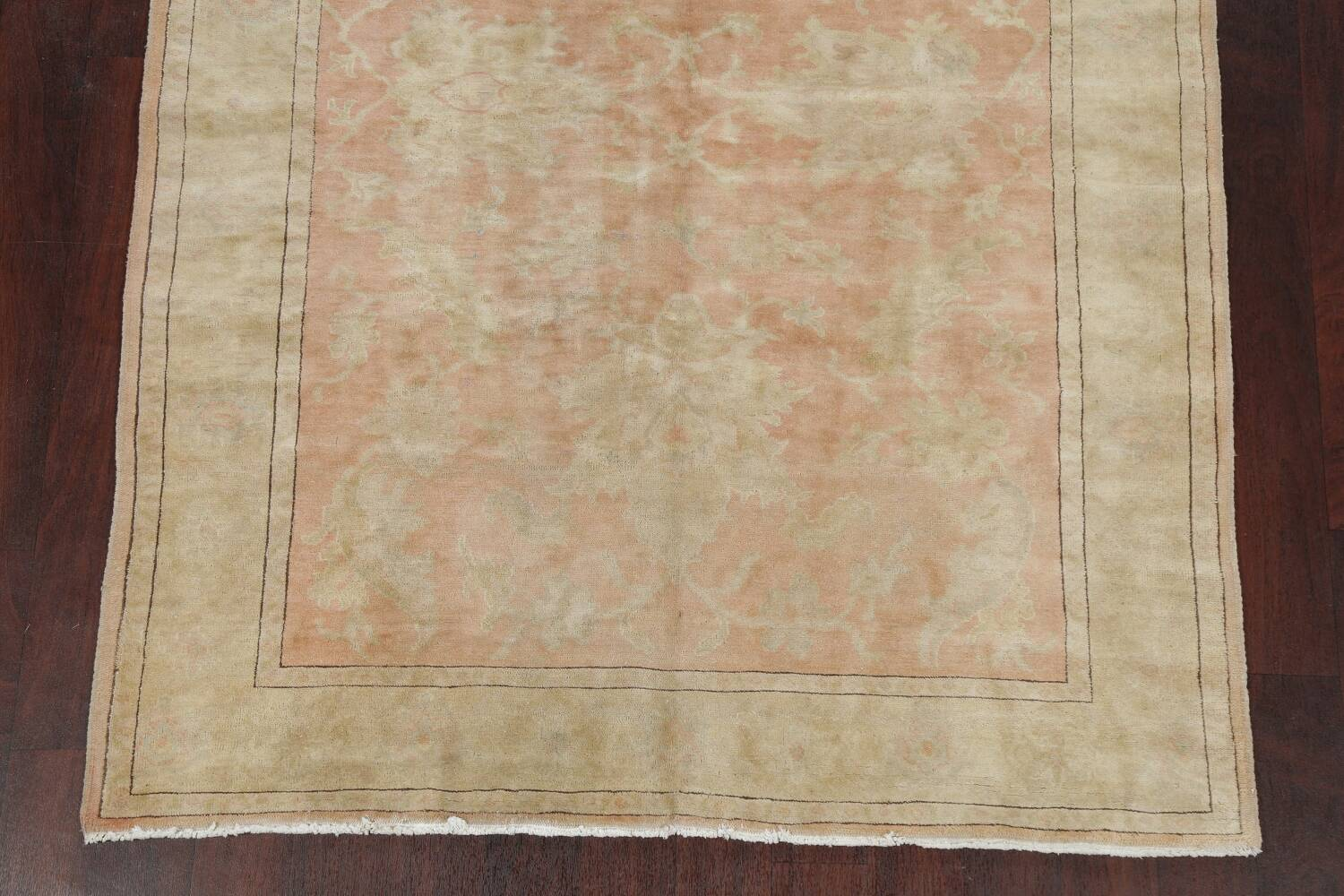 Vegetable Dye Antique Coral Peach Egyptian Area Rug 5x7 image 8
