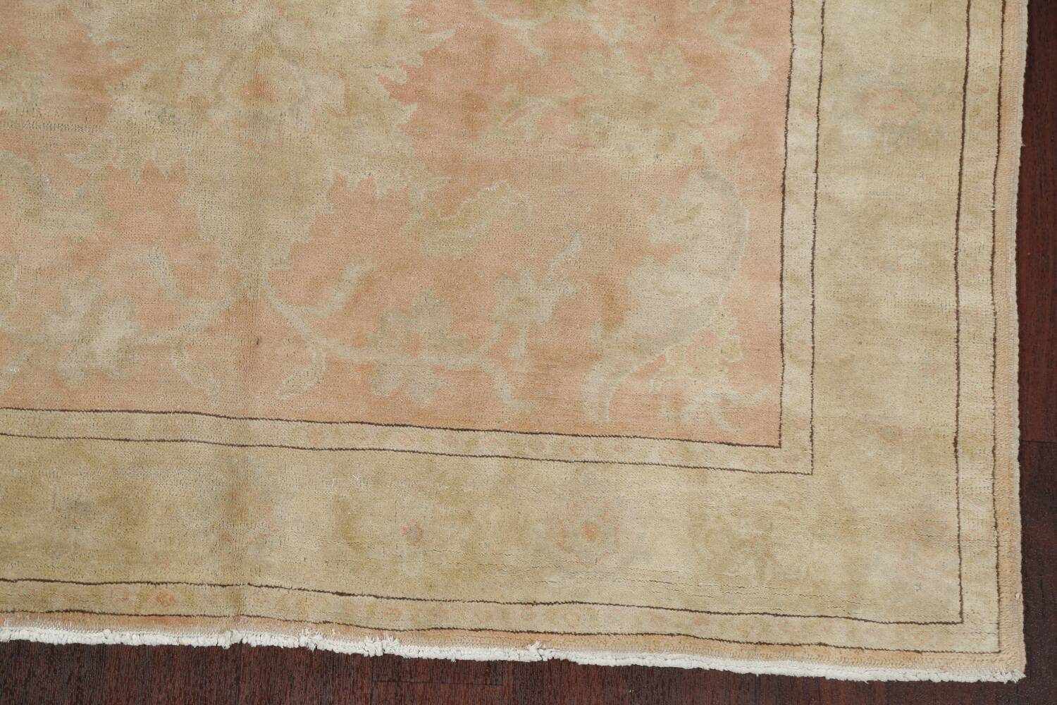 Vegetable Dye Antique Coral Peach Egyptian Area Rug 5x7 image 5