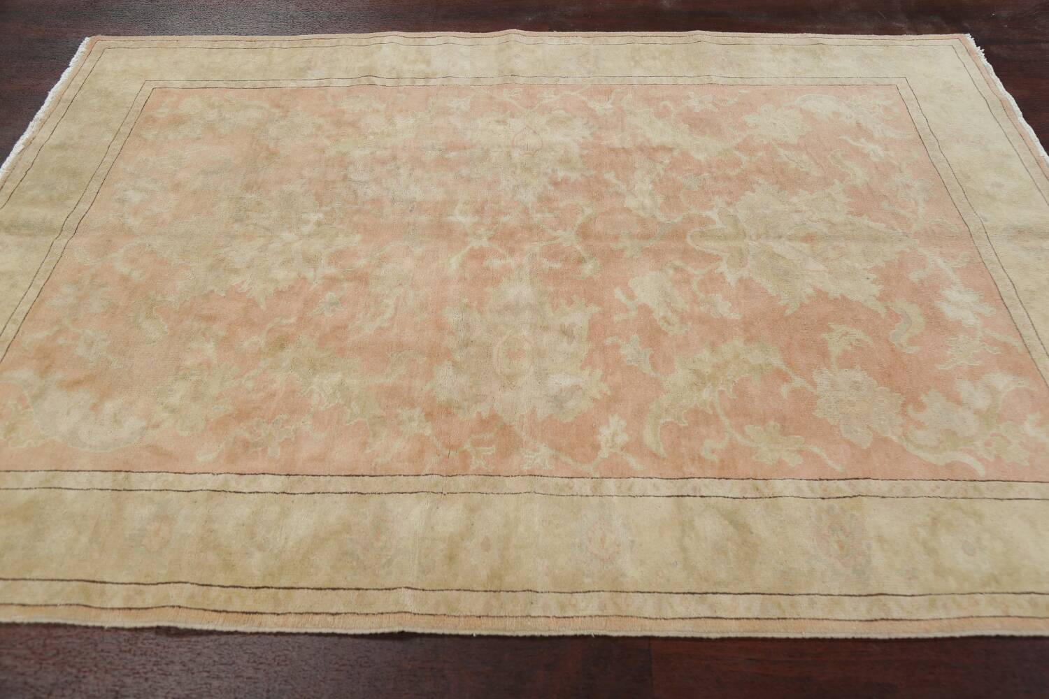 Vegetable Dye Antique Coral Peach Egyptian Area Rug 5x7 image 15