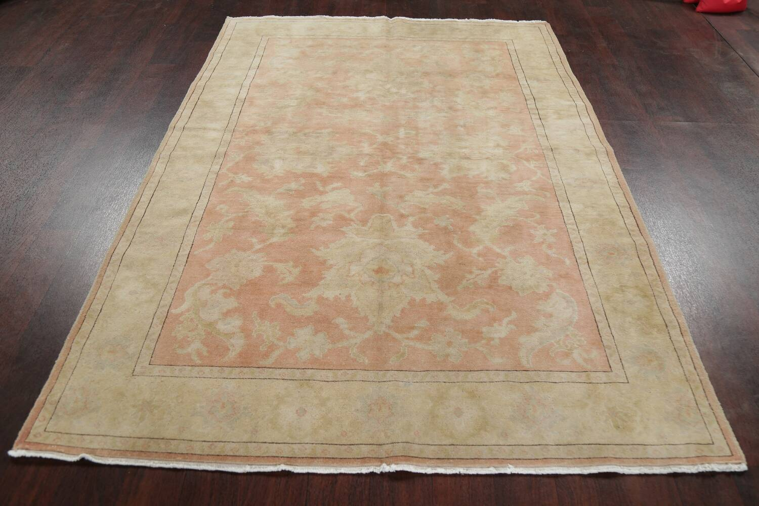 Vegetable Dye Antique Coral Peach Egyptian Area Rug 5x7 image 16