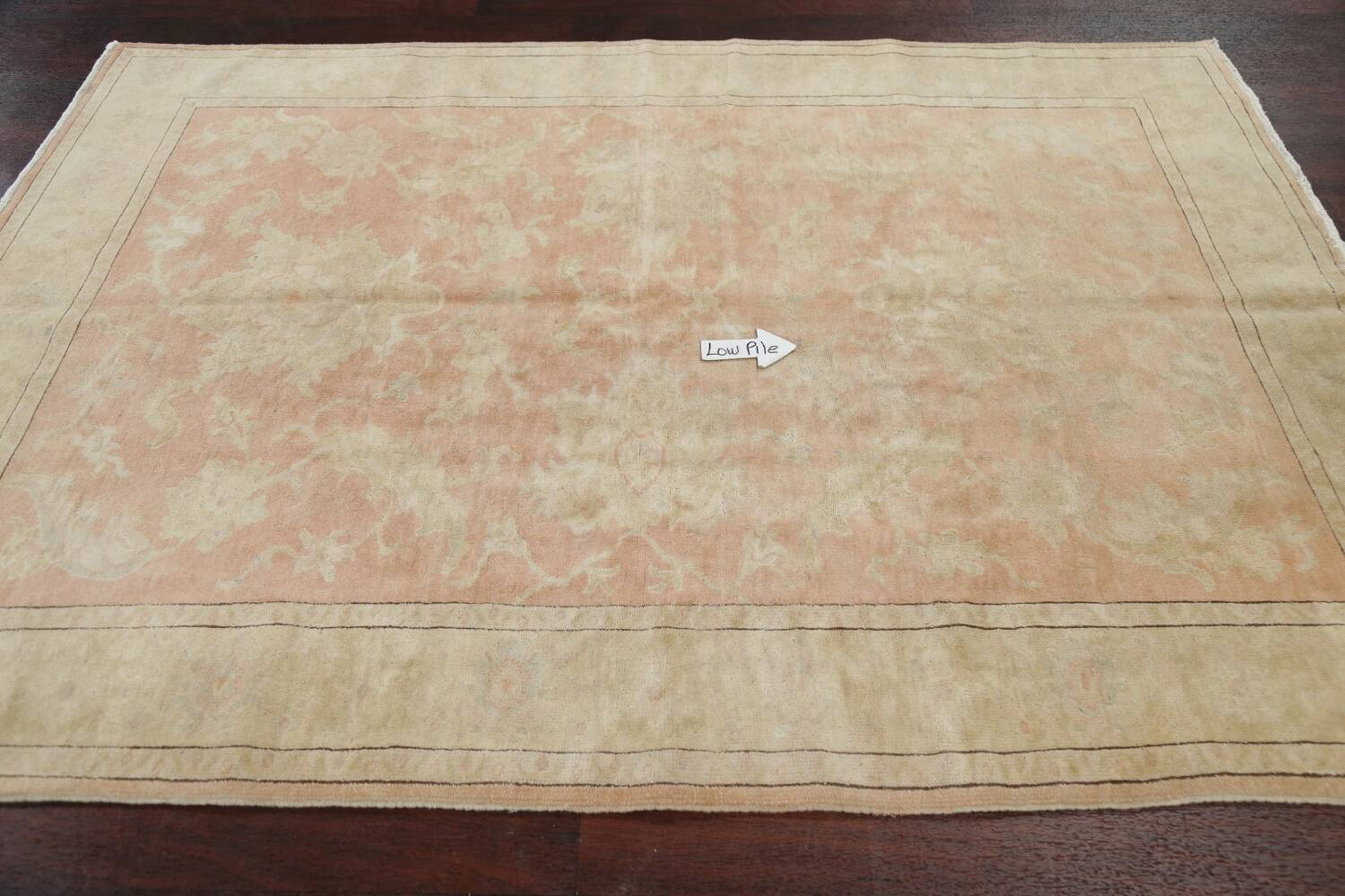 Vegetable Dye Antique Coral Peach Egyptian Area Rug 5x7 image 12