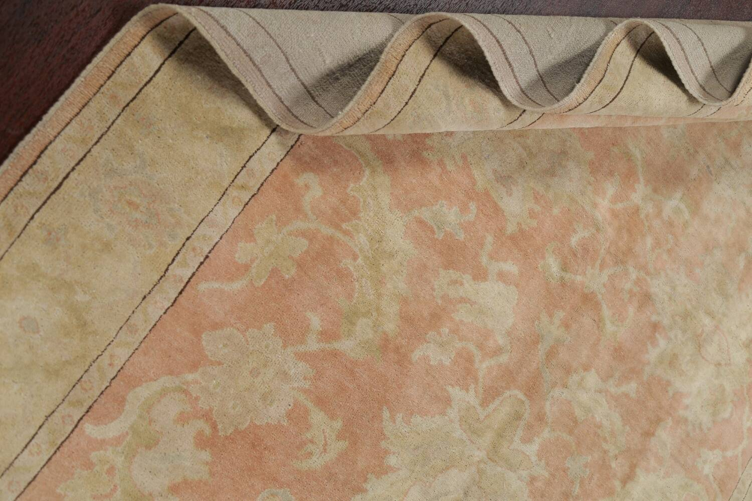 Vegetable Dye Antique Coral Peach Egyptian Area Rug 5x7 image 18