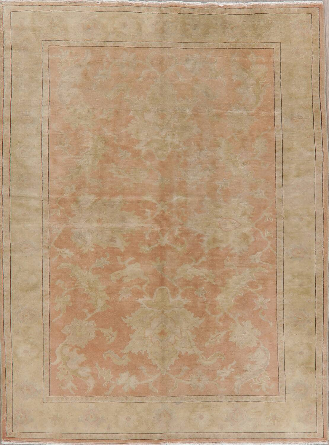 Vegetable Dye Antique Coral Peach Egyptian Area Rug 5x7 image 1