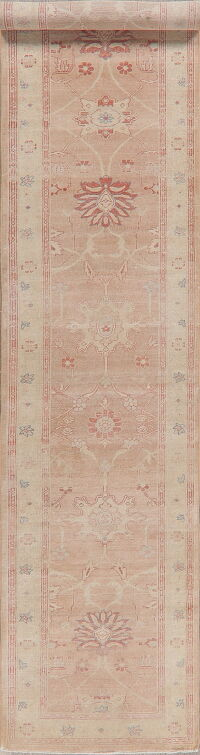 Vegetable Dye Floral Oushak Turkish Runner Rug 3x14