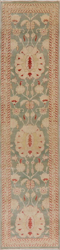 Vegetable Dye Floral Oushak Turkish Runner Rug 3x12