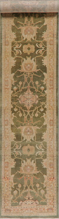 Vegetable Dye Floral Oushak Turkish Runner Rug 3x18