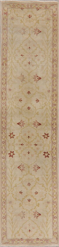 Vegetable Dye Oushak Turkish Runner Rug 3x11