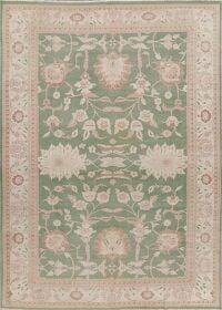 Vegetable Dye Green Oushak Turkish Area Rug 9x12