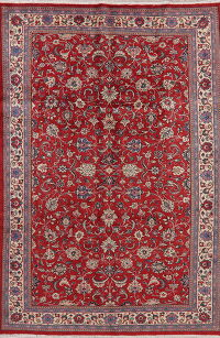 All-Over Floral Red Sarouk Persian Area Rug 7x10