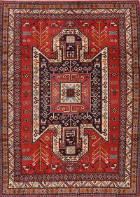 Geometric Red Mahal Persian Area Rug 7x9