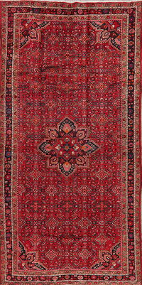 Geometric Red Hamedan Persian Area Rug 6x11