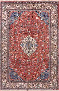 Floral Red Rust Sarouk Persian Area Rug 7x10