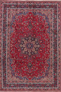Floral Red Mashad Persian Area Rug 7x9