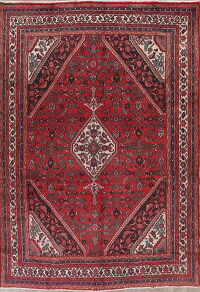 Vintage Red Geometric Hamedan Persian Area Rug 7x10