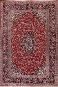 Traditional Floral Red Kashan Persian Area Rug 7x9