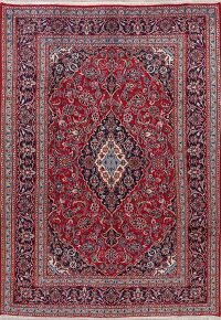 Vintage Floral Red Mashad Persian Area Rug 7x9