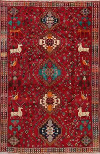 Animal Pictorial Abadeh Nafar Persian Area Rug 6x9