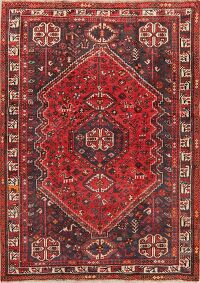 Antique Geometric Red Shiraz Persian Area Rug 5x7