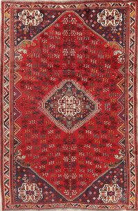 Vintage Red Geometric Shiraz Persian Area Rug 6x9
