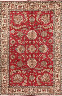 Floral Red Tabriz Persian Area Rug 7x9