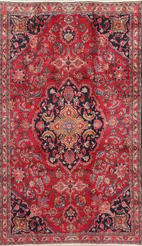 Vintage Floral Red Mashad Persian Area Rug 5x8